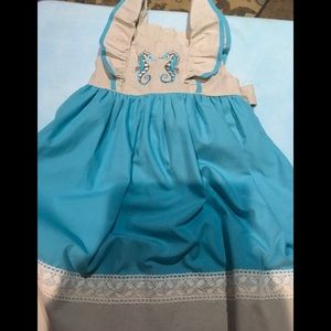 Girls seahorse dress size 5T smocked sweets